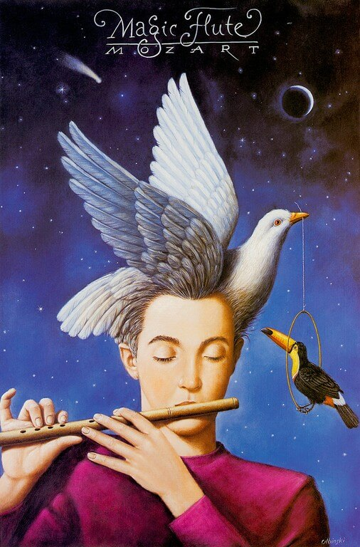 """Постер Рафала Ольбиньского к опере В. А. Моцарта """"Волшебная флейта"""""""