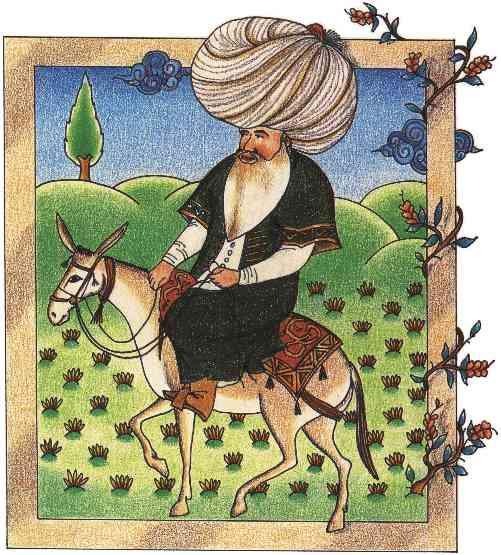Ходжа Насреддин. Турецкая миниатюра XVII века