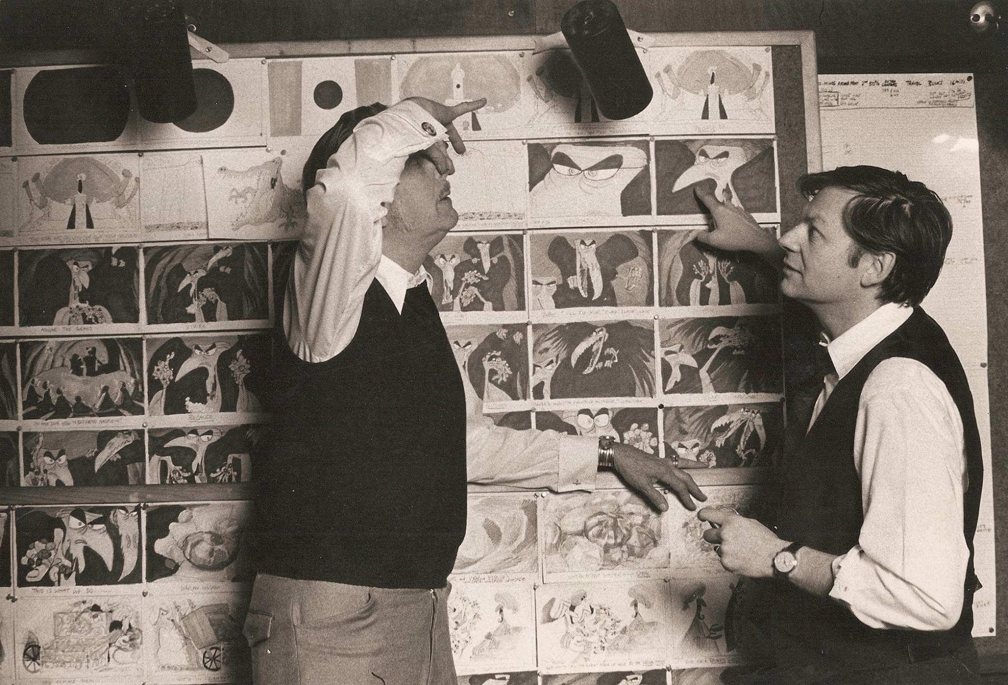 Винсент Прайс (голос визиря) и Ричард Уильямс за работой над «Насреддином»