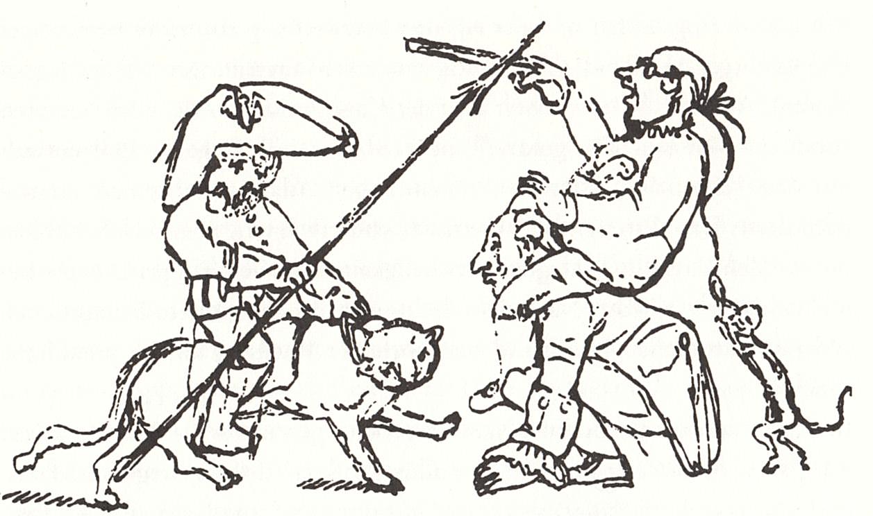 """Рисунок Э.Т.А. Гофмана (""""Гофман верхом на коте Мурре сражается с бюрократией"""")"""