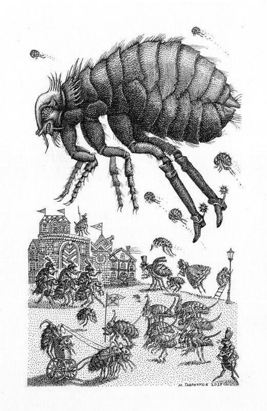 Иллюстрация М. А. Гавричкова к сказке Э.Т.А. Гофмана «Повелитель блох»