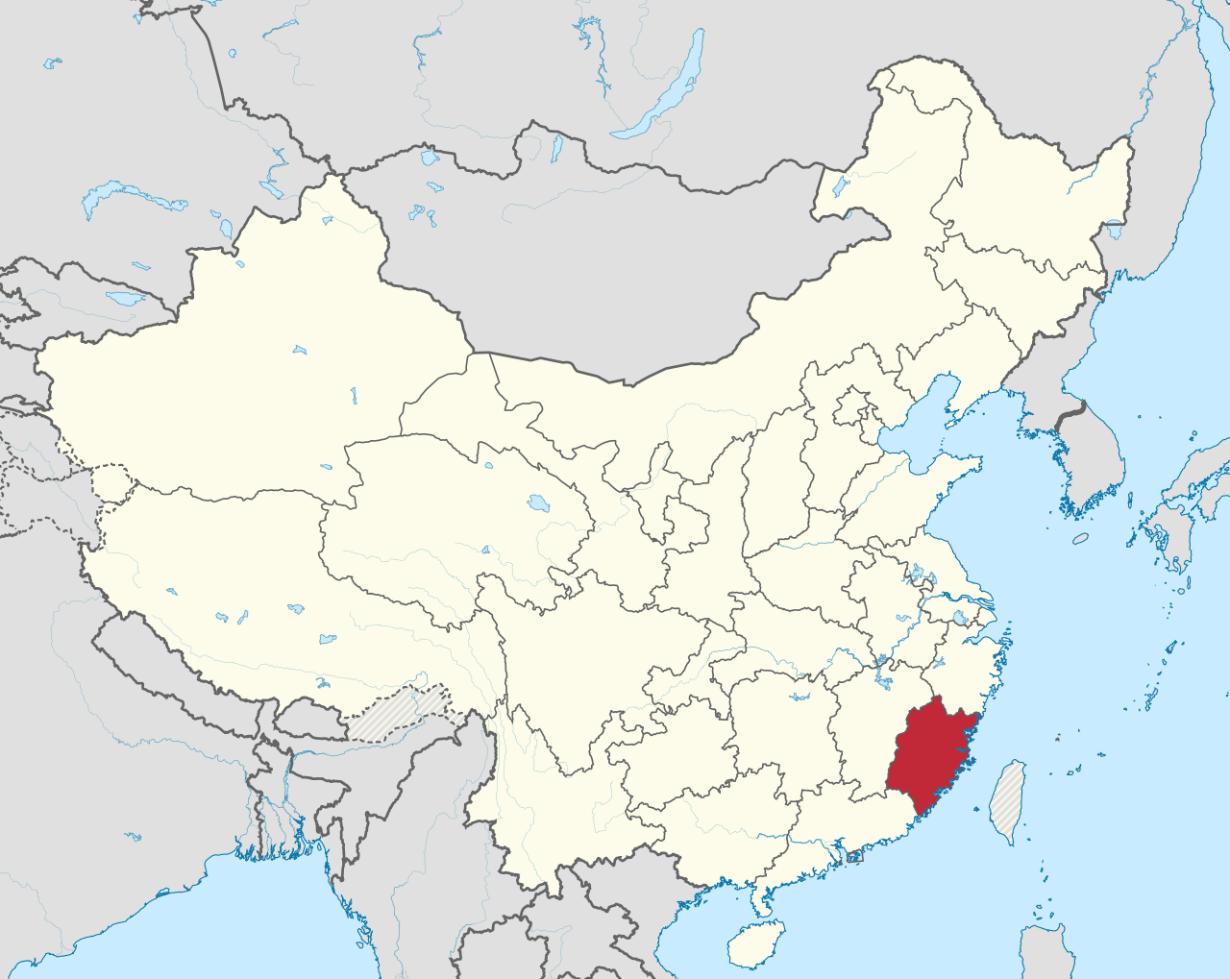 Провинция Фуцзянь на административно-территориальной карте Китая