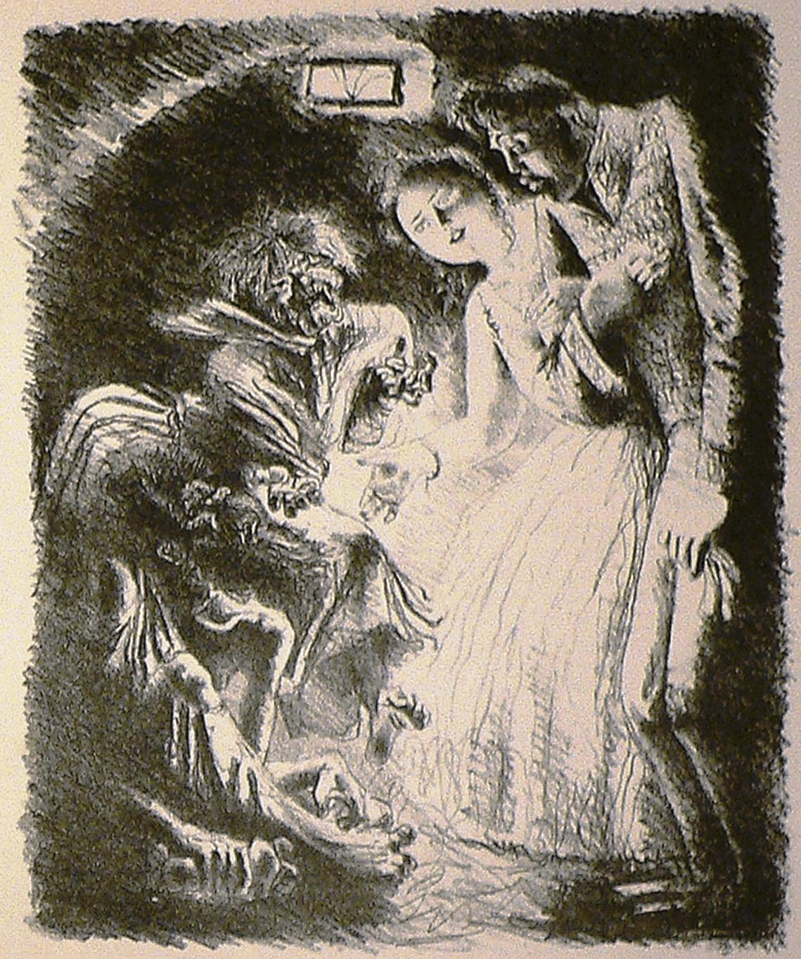 Иллюстрация А.Н. Самохвалова к главе «Поклонение Мамоне и покаяние» «Истории одного города» М.Е. Салтыкова-Щедрина