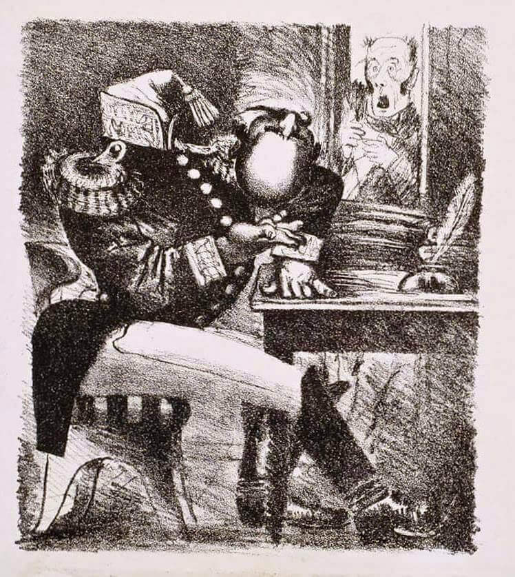 Иллюстрация А.Н. Самохвалова к главе «Органчик» «Истории одного города» М.Е. Салтыкова-Щедрина